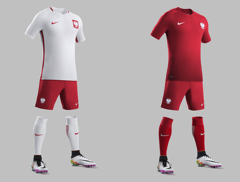Poland will wear white-red for the home set, and all red for the away set. / Nike