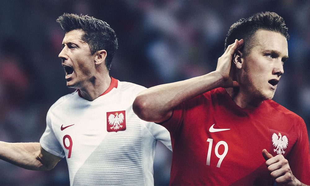 f802019a5 Robert Lewandowski and Piotr Zielinski showcase the brand new 2018 Nike kit  designs that Poland will wear for the FIFA World Cup in Russia   Nike